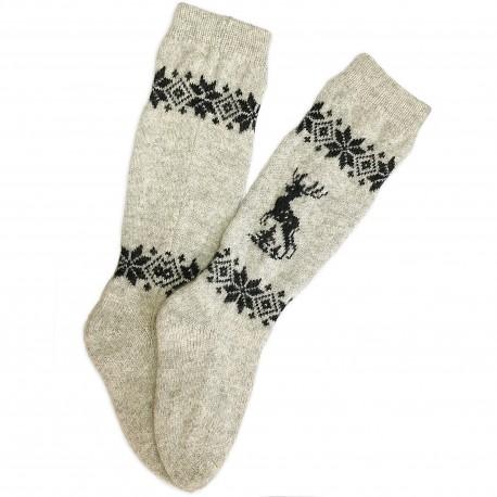 Vilnonės kojinės su briedžio ornamentu