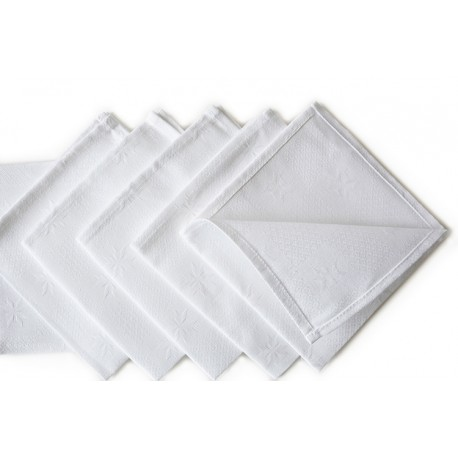 Baltų žakardinių servetėlių komplektas