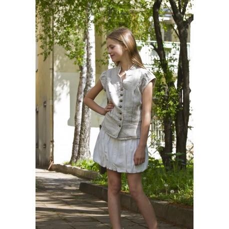 Baltas lininis sijonas