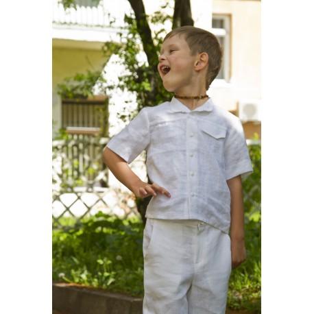Baltos spalvos lininiai marškiniai