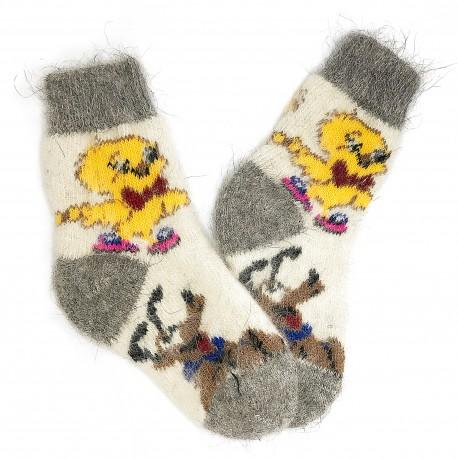 """Vilnonės kojinės """"Viščiukai - šuniukai"""""""