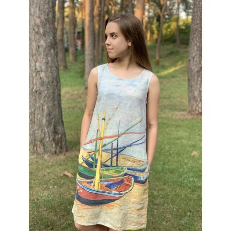 """Lininė suknelė """"Žvejo valtis"""""""