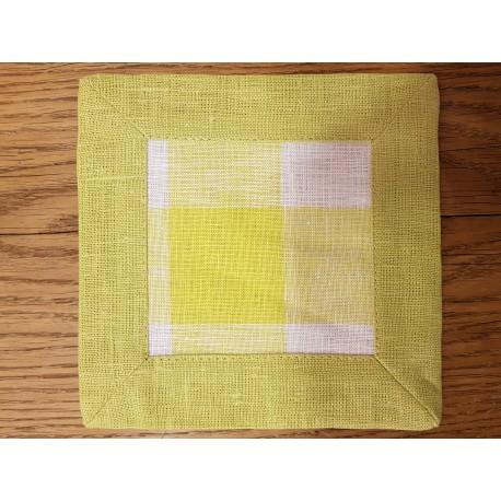 """Lininių servetėlių rinkinys """"Žali kvadratėliai"""""""