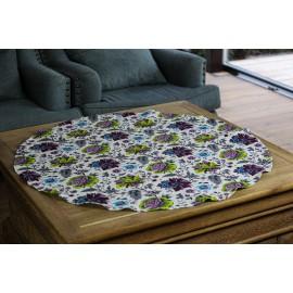 """Apvali lininė staltiesė """"Gėlės"""""""