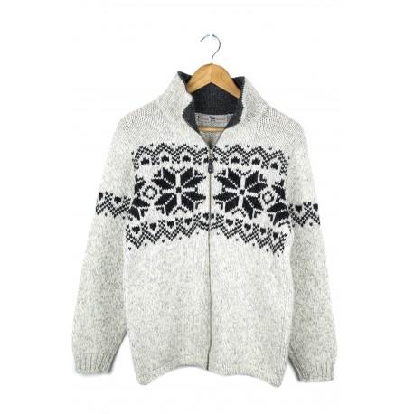 Šviesus vilnos megztinis su raštais