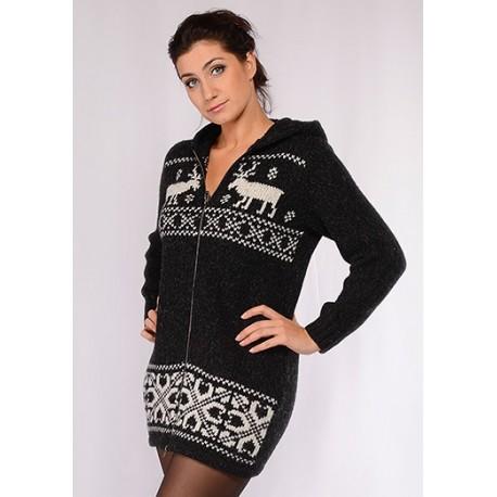 Raštuotas vilnos megztinis