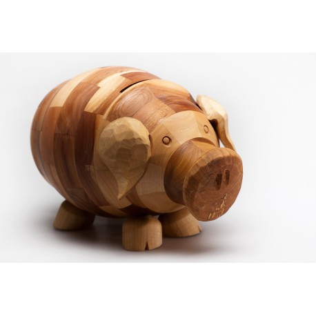 Medinė kiaulė taupyklė