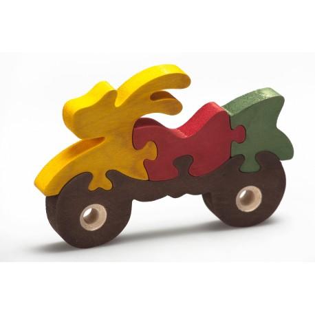 """Medinė spalvota dėlionė """"Motociklas"""""""