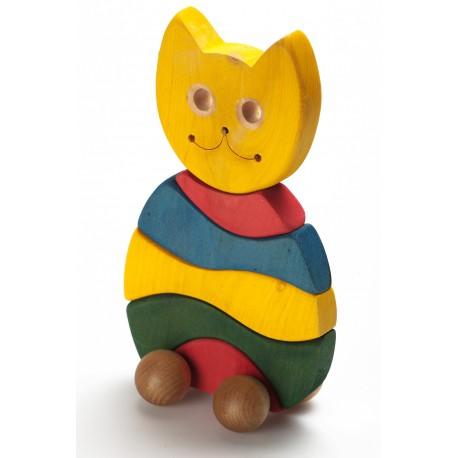 """Medinė spalvota dėlionė """"Katinas"""""""