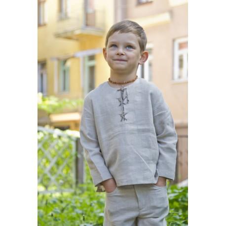 Natūralios lino spalvos marškinėliai